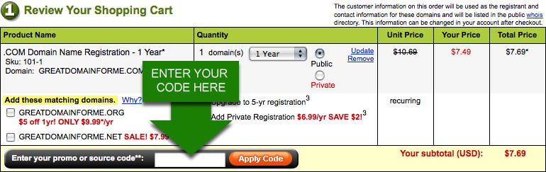Using a GoDaddy promo code at checkout
